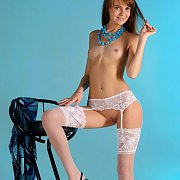 White Garter Stockings Erotic Model In Heels