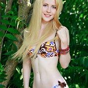 Pale Blonde Bikini Girl Posing Outside