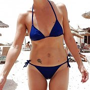 Wet Slim Bikini Mom At The Beach