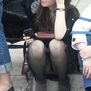 Nylons Lady Captured Sitting On A Curb