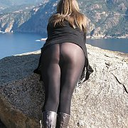 Boots And Nylons Amateur Enjoying A View