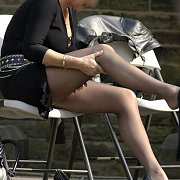 Mature Lady Showing Her Legwear At The Park