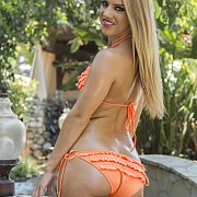 Orange Bikini With Ruffles On A Sexy Bottom Babe