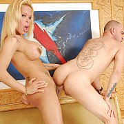 Chesty Transsexual Bangs A Man Standing Up