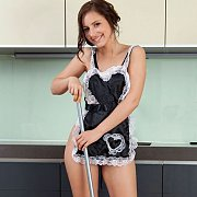 Teasing Teenager In Maids Uniform