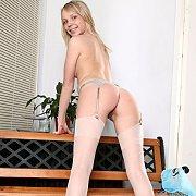 White Stockings On Blonde Coed Girl