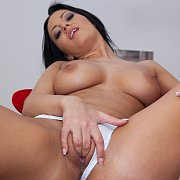 Perky Brunette MILF Charlotte Plays With Her Pussy