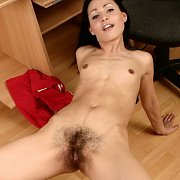 Slim Russian With Big Hairy Teen Pussy