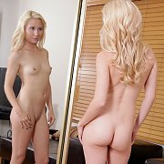 Naked Tiny Tits Blonde In The Mirror