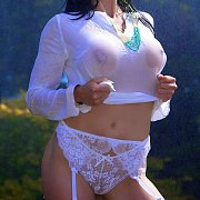 Wet Teasing Milf In White Lace Panties