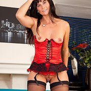 Red Bustier On Sexy Mature Mom