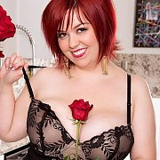Plump Red Hair Lady In Lingerie