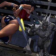 Superheroines Fighting A Monster