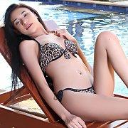 Asian Bikini Teen Strips By The Pool