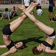 Flexible Teens Out In Public