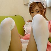 White Cotton Panty And Stockings On Japanese Cutie