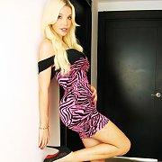 Lusty Blonde Ana Tranny Standing In Doorway