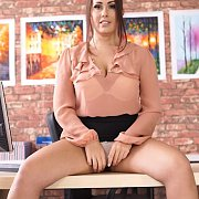 Panty Flashing Brunette Secretary