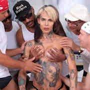 Sexy Tattooed TS Gaby Ink Is Gangbanged