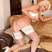 White Lace Top Stocking On Mature Hottie