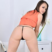 Hot Ass Blonde In White Thong And Pink Fishnets