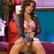 Sexy Brown Hair Cougar Flashing Panties