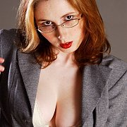 Cleavage Showing Freckles Milf Redhead