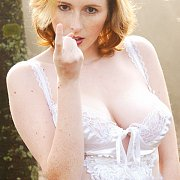 Pale Freckles Milf In White Lingerie