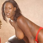 Dark Black Amateur With Natural Breasts