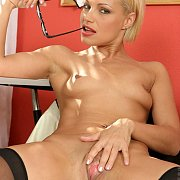 Small Breasts Blonde Showing Her Pink Milf Pussy