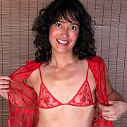 Smiling Milf Showing Her Red Bralette Lingerie