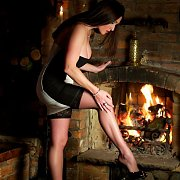 Hot Legs English Milf By The Fireplace