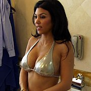 Kourtney Kardashian In A Silver Bikini
