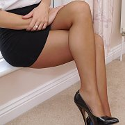 Fine Nylons Brunette Woman With Great Legs