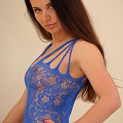 Blue Lace Bodystocking Lingerie Milf