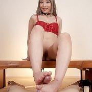 Asian Lady Gives Footjob