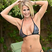 Hot Micro Bikini Milf Posing Outside