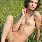 Skinny European Naked In A Field