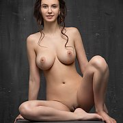 Delightful Large Boobs Brunette On A Box