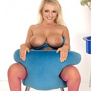 Really Big Boobs Blonde In Pink Fishnets