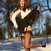 Sexy Milf In Stockings and Heels In The Snow