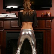 Thin Girl In Tight Shiny Silver Pants