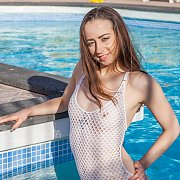 White Net Swimsuit Girl In The Pool