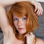 Erotic Freckles Redhead Model With Hand Over Head