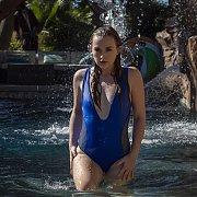 Soaking Wet Swimsuit Babe In Waterfall
