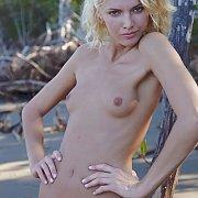 Pretty Blonde Skinny Model Posing Nude