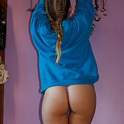 Braided Tails And Thong Pantie Teasing