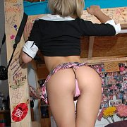 Perfect Tight Ass Petite In Thong And Schoolgirl Uniform