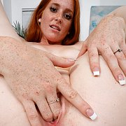 Freckled Fingers In Her Pale Pussy