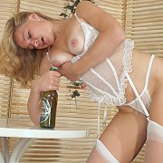 White Lingerie Amateur Blonde Lady